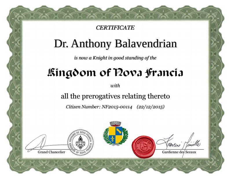 knighthood certificate